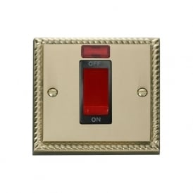 Georgian Cast Brass GCBR201 45A DP Switch with Neon