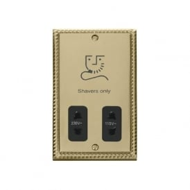 Georgian Cast Brass GCBR100 115V/230V Dual Voltage Shaver Socket