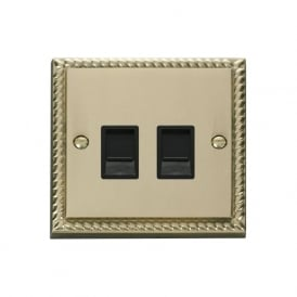 Georgian Cast Brass GCBR118 Twin RJ45 Data Outlet Socket