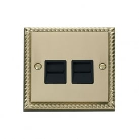 Georgian Cast Brass GCBR126 Twin Telephone Socket - Secondary