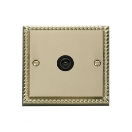 Georgian Cast Brass GCBR065 Non-Isolated Single Coaxial Socket