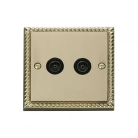 Georgian Cast Brass GCBR066 Non-Isolated Twin Coaxial Socket
