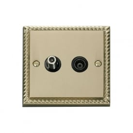 Georgian Cast Brass GCBR157 Isolated Satellite & Coaxial Socket
