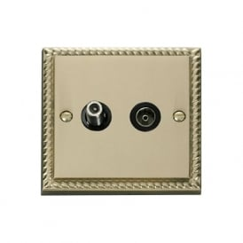Georgian Cast Brass GCBR170 Non-Isolated Satellite & Coaxial Socket
