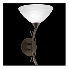 91434 Vinovo 1 Light Wall Light Dark Brown Steel & White Alabaster Glass