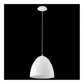 92717 Coretto 1 Light Pendant White Steel