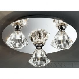 FL2243/3 Twista 3 Light Crystal Ceiling Light Polished Chrome
