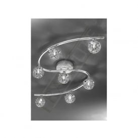 FL2305/7 Horologica 7 Light Crystal Ceiling Light Polished Chrome