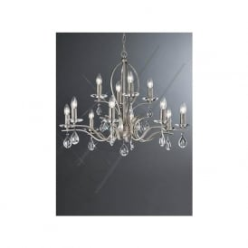 FL2298/12 Willow 12 Light Crystal Ceiling Light Satin Nickel