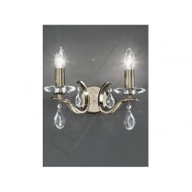 FL2299/2 Willow 2 Light Crystal Wall Light Bronze