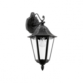 93456 Navedo 1 Light Outdoor Wall Light Black/Silver IP44
