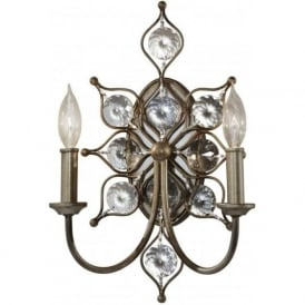 Lighting Feiss FE/LEILA2 Leila 2 Light Crystal Wall Light Burnished Silver