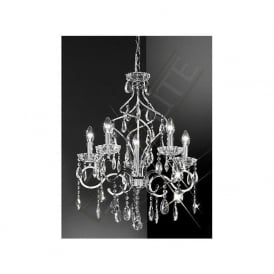 FL2188/5 Chiffon 5 Light Crystal Ceiling Light Polished Chrome