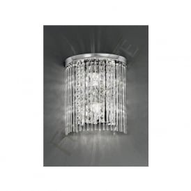 WB048 2 Light Bathroom Crystal Wall Light Polished Chrome