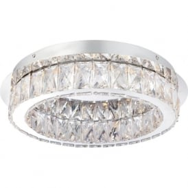 61340 Swayze LED Flush Ceiling Light Polished Chrome