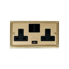 Georgian Cast Brass GCBR770 2 Gang 13A Switched Double Socket USB Outlet