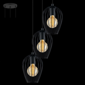 49479 Newtown 3 Light Ceiling Pendant Black