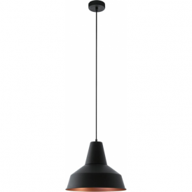 49387 Somerton 1 Light Ceiling Pendant Black/Copper