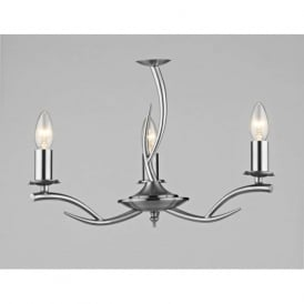 ELK0346 Elka 3 light traditional ceiling light pendant satin chrome finish
