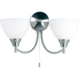 1805-2SC Alton 2 Light Switched Wall Light Satin Chrome