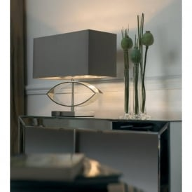 Tramini Envisage 1 Light Modern Table Lamp Taupe Silk Shade Cast Metal Silver Plated Finish