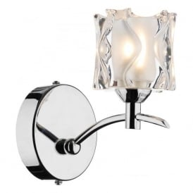 JAC0750 Jacob 1 light modern wall light polished chrome finish with opal/clear glass shade (SWITCHED)