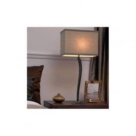 Arinto Envisage 1 light modern table lamp antique chocolate finish taupe cotton shade