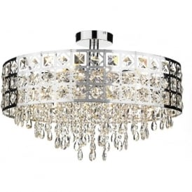 DUC0650 Duchess 6 light crystal ceiling light polished chrome finish