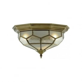 1243-12 Flush 2 Light Flush Ceiling Light Antique Brass