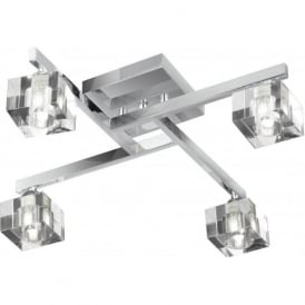1014-4CC Sculptured Ice 4 Light Semi-Flush Ceiling Light Polished Chrome