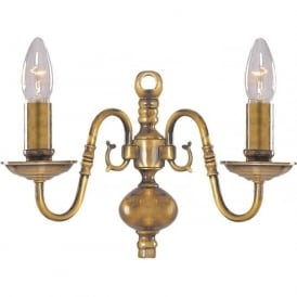 1019-2AB Flemish 2 Light Wall Light Solid Antique Brass