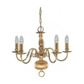 1019-5AB Flemish 5 Light Ceiling Pendant Solid Antique Brass