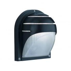 1106BK 1 Light Outdoor & Porch Wall Light IP44 Rated Ridged Glass Diffuser Black IP44 Rated