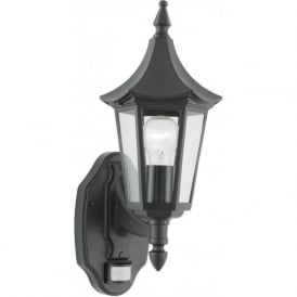 14715 Bel Aire 1 Light Outdoor Lantern Wall Light IP44 Rated Sensored Matt Black