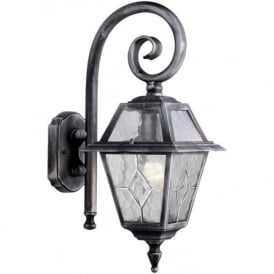 1515 Genoa 1 Light Outdoor Wall Light IP23 Rated Lead Glass Black/Silver
