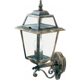 1521 New Orleans 1 Light Outdoor Wall Light Cast Aluminium Black/Gold Clear Glass IP44 Rated