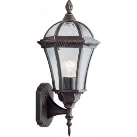 1565 Capri 1 Light Outdoor & Garden Wall Light Rustic Brown Bevelled Glass IP44 Rated