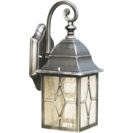 1642 Genoa 1 Light outdoor Lantern Wall Light IP23 Rated Black/Silver