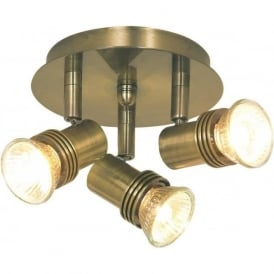P633AB Decco 3 Light Ceiling Spotlight Antique Brass