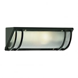 1819BK Outdoor And Porch 1 Light Traditional Outdoor Wall Light IP44 Rated Cast Aluminium Ribbed Glass Black Finish