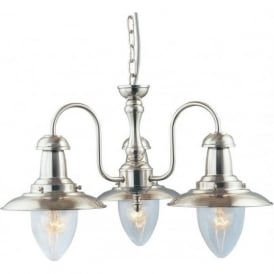 5333-3SS Fisherman 3 Light Ceiling Light Satin Silver