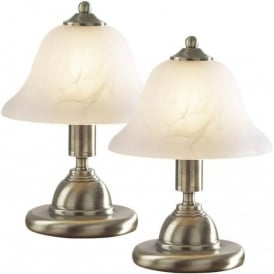 GLO4075 Gloucester 1 Light Touch Table Lamp Antique Brass Twinpack