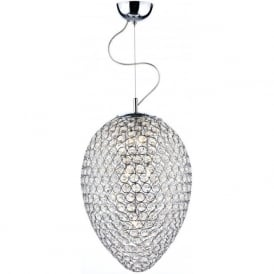FRO0350 Frost 3 Light Crystal Ceiling Pendant Polished Chrome
