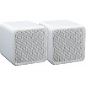 Audio4 OCE4W White 4 inch Full Range 80 watt Dual Cone Mini Box Speakers Pair