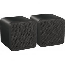 Audio4 OCE4B Black 4 inch Full Range 80 watt Dual Cone Mini Box Speakers Pair