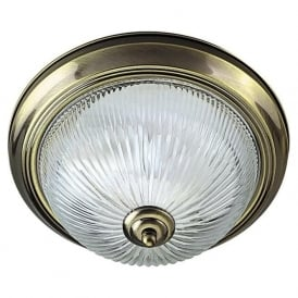 4370 American Diner Flush 2 Light Flush Ceiling Light Antique Brass