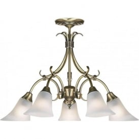 144-5AN Hardwick 5 Light Ceiling Light Antique Brass