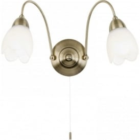 124-2WBAB Petal 2 Light Switched Wall Light Antique Brass