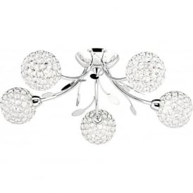 6575-5CC Bellis II 5 Light Semi Flush Ceiling Light Polished Chrome Glass
