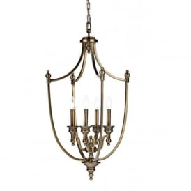 LOM0475 Lombard 4 Light Solid Brass Lantern Pendant Antique Brass